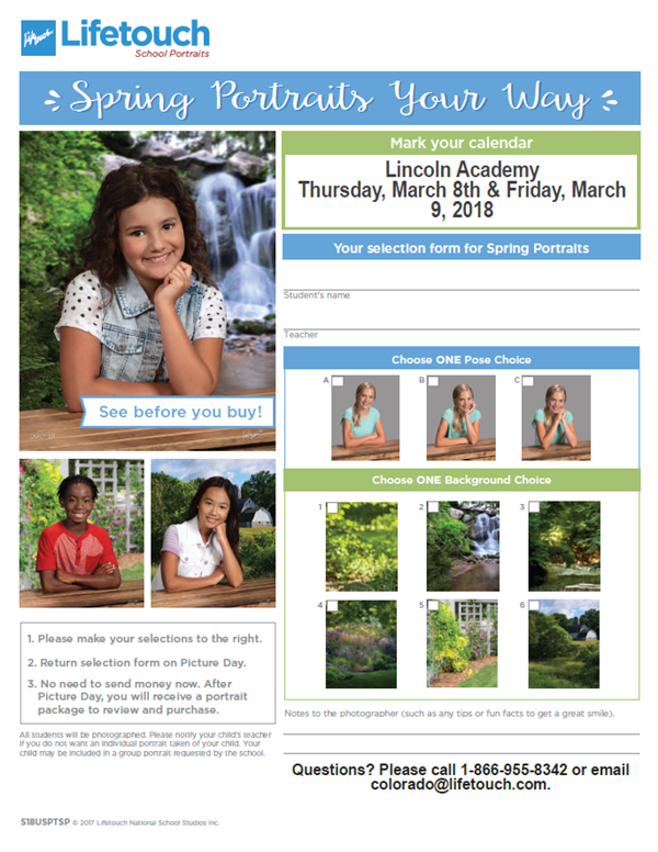 Spring Picture Days Next Thursday & Friday, March 8 & 9