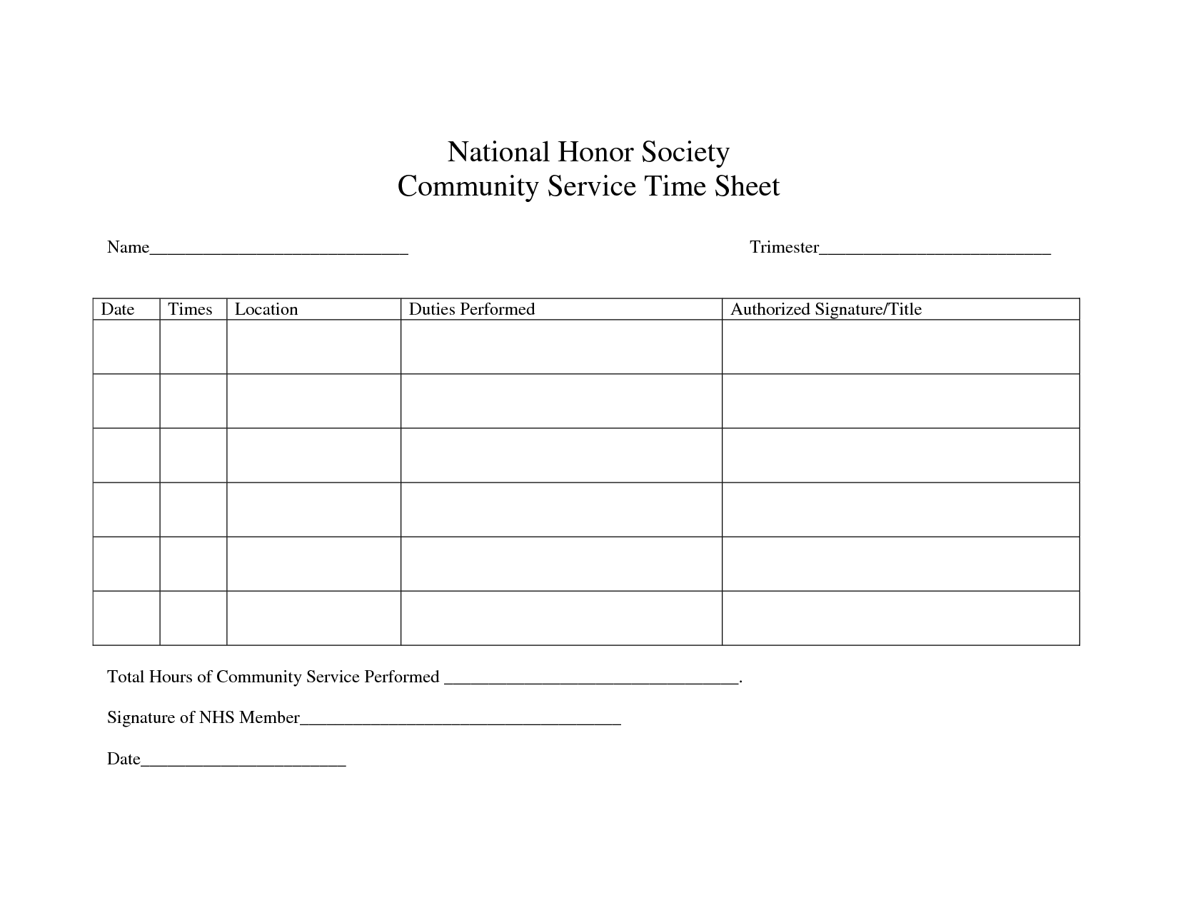 community service hours sheet for high school national honor society lincoln honor society 17461